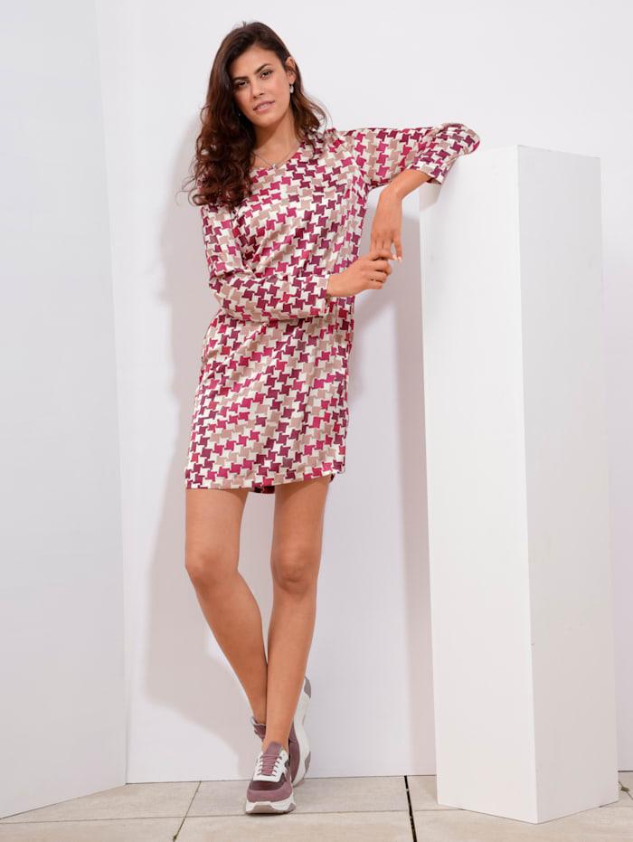 AMY VERMONT Šaty so vzorom kohútej stopy, Pink/Biela