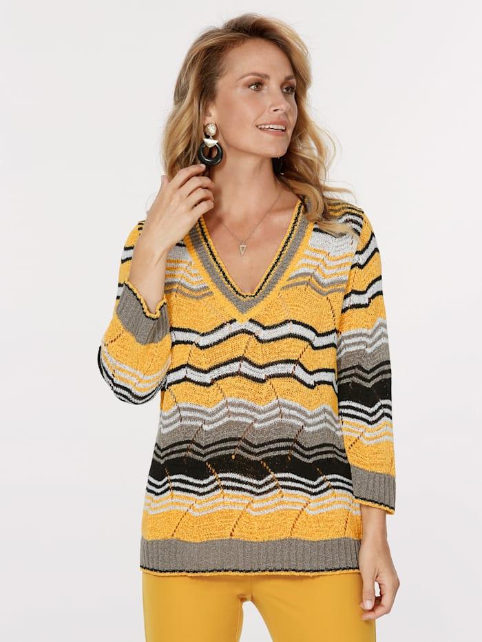 MONA Pullover aus Bändchengarn, Gelb/Schwarz