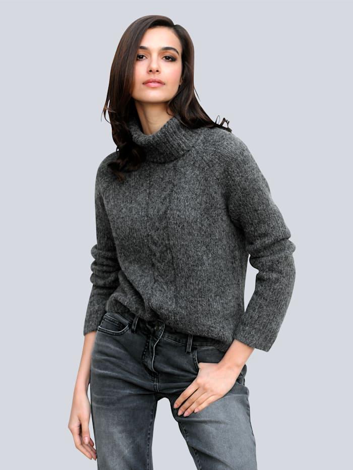 Alba Moda Pullover mit Zopfmuster, Anthrazit