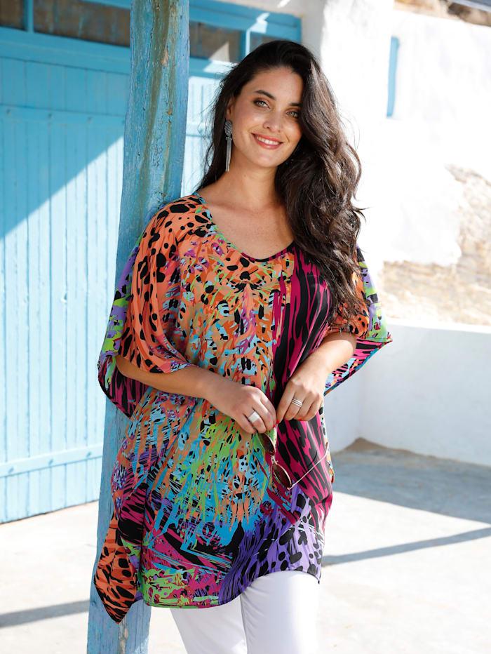 MIAMODA Tunique en coloris fluo, Multicolore