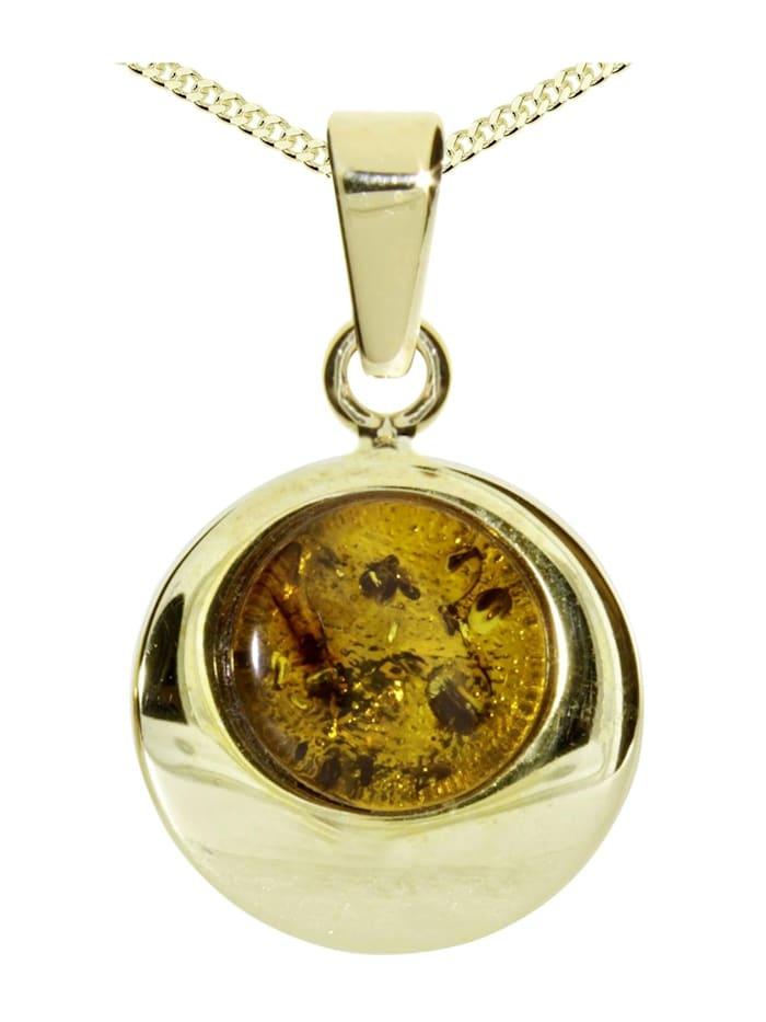 OSTSEE-SCHMUCK Kette mit Anhänger - Alina 12 mm - Silber 925/000, vergoldet - Bernstein, gelb