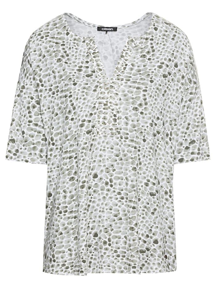 Olsen Rundhalsshirt mit Kieselsteinprint, Khaki Green