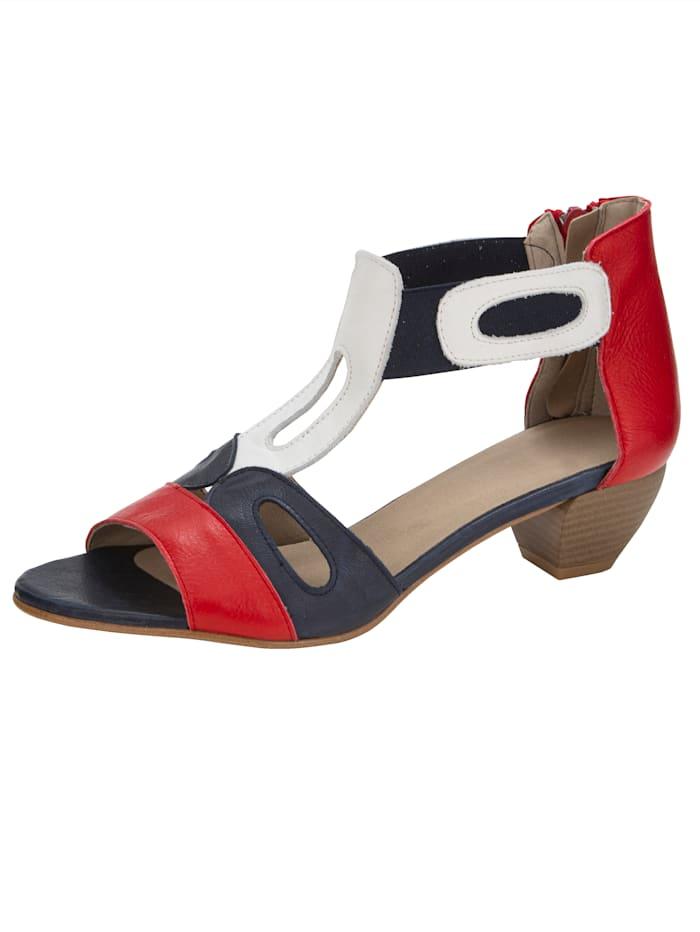 Sandaaltje in harmonieuze kleuren, Marine/Rood/Wit