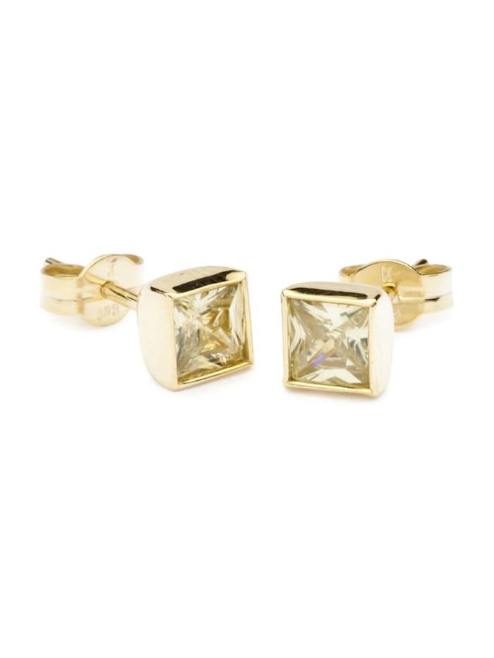OSTSEE-SCHMUCK Ohrstecker - Anna 5x5 mm - Gold 333/000 - Zirkonia, gold