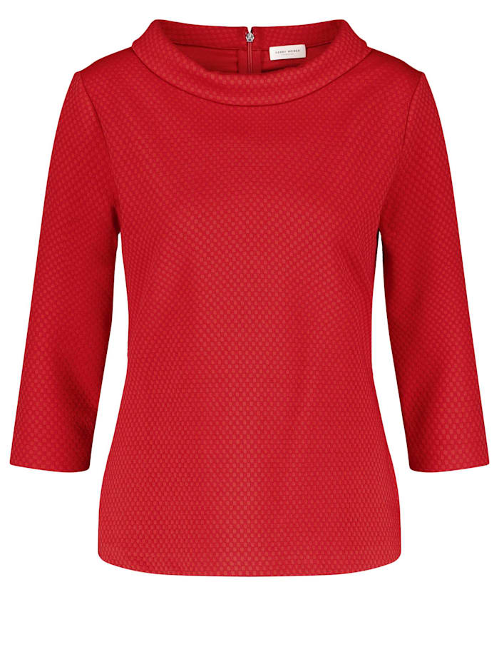 Gerry Weber 3/4 Arm Shirt mit Kästchenstruktur, Rot