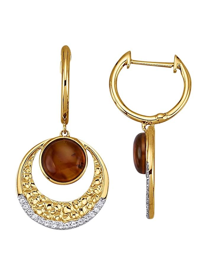 Diemer Farbstein Ohrringe in Gelbgold 585, Braun