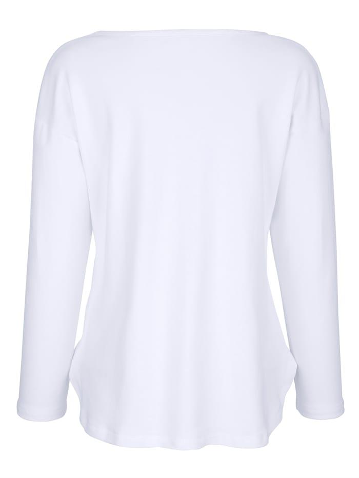 Shirt met glitterprint en opschrift