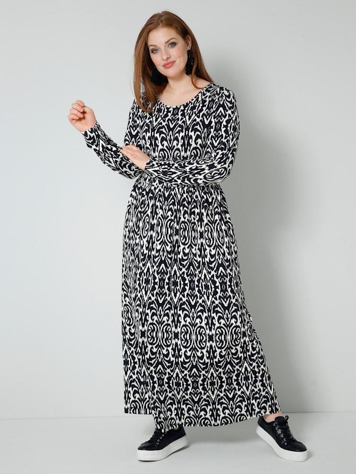 Sara Lindholm Jersey jurk met print rondom, Zwart/Champagne