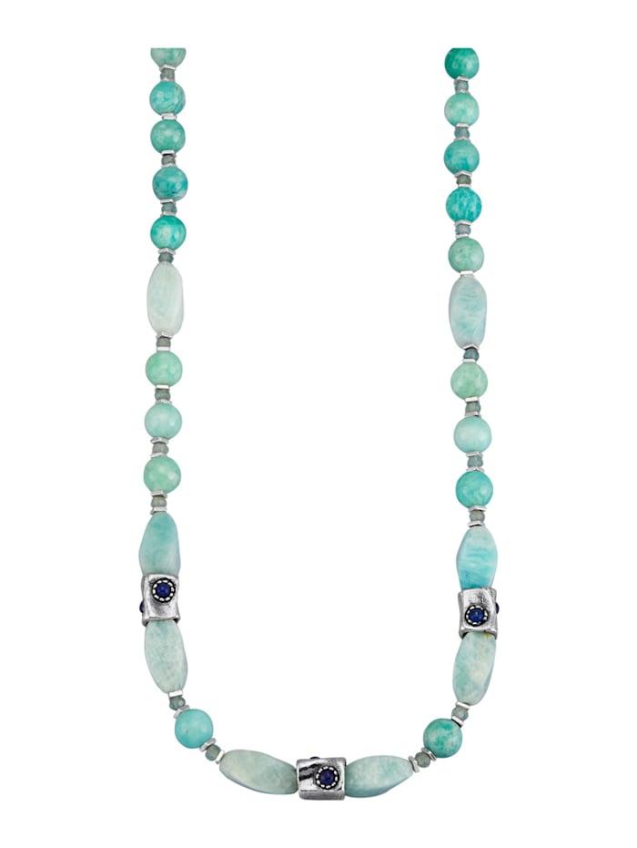 Roman Glass Collier mit Farbsteinen, Silberfarben