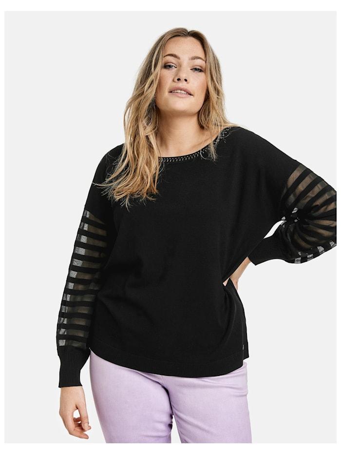 Samoon Pullover mit transparentem Streifen-Design, Black