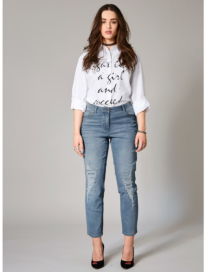 Slim Fit Jeans knöchellang mit Perlen