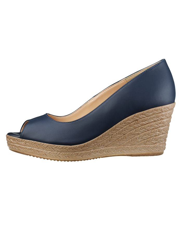 Peep toe Wedge court shoes made of high-quality napa leather, Navy