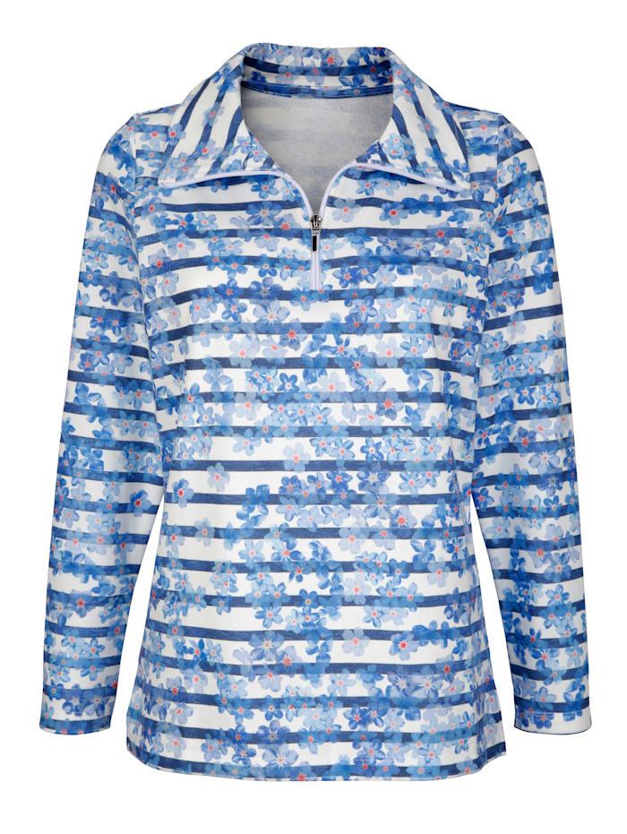 Sweat-shirt à motif rayé et floral