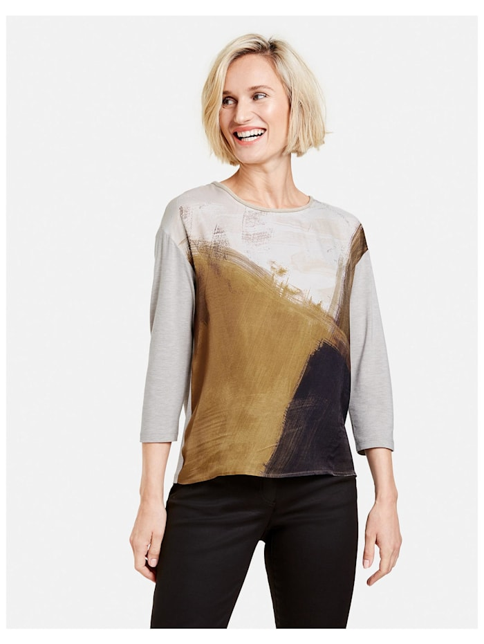Gerry Weber 3/4 Arm Shirt mit Patchmuster, Ivory/ Honey/ Chocolate