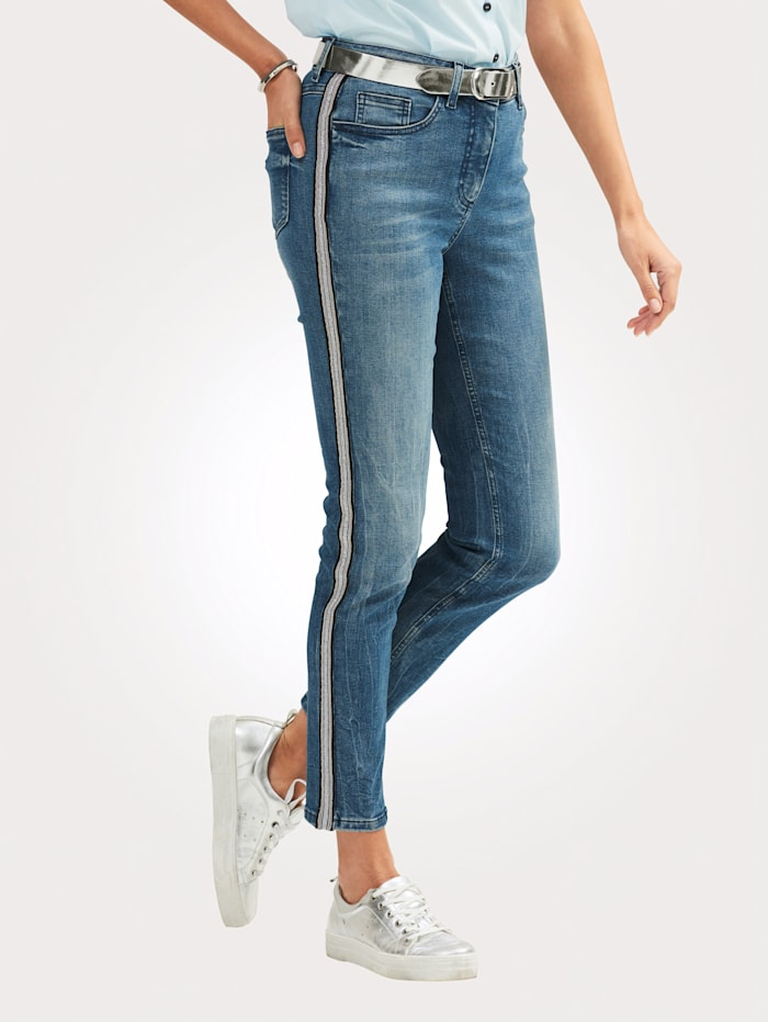 MONA Jeans with a classic side stripe, Blue