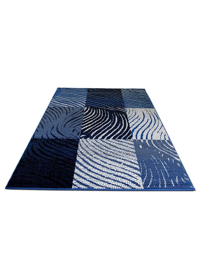 Pergamon Teppich Trendline Zebra Karo, Blau
