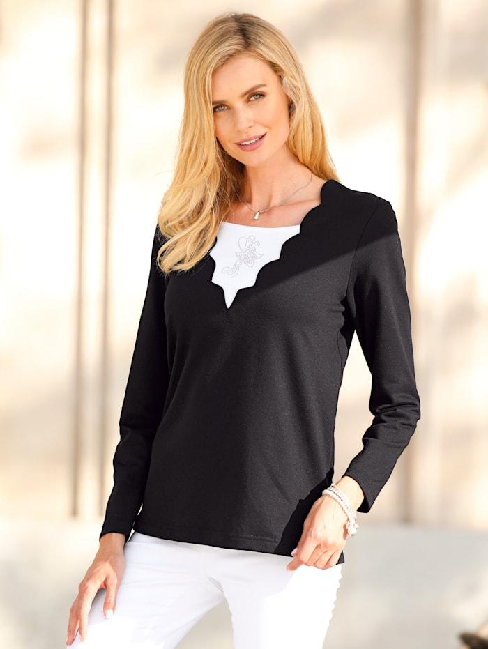 Paola Sweatshirt Met geschulpte zoom aan de hals, Zwart