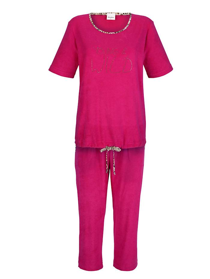 Maritim Strandanzug mit Strassmotiv und kontrastfarbenen Paspeln, pink