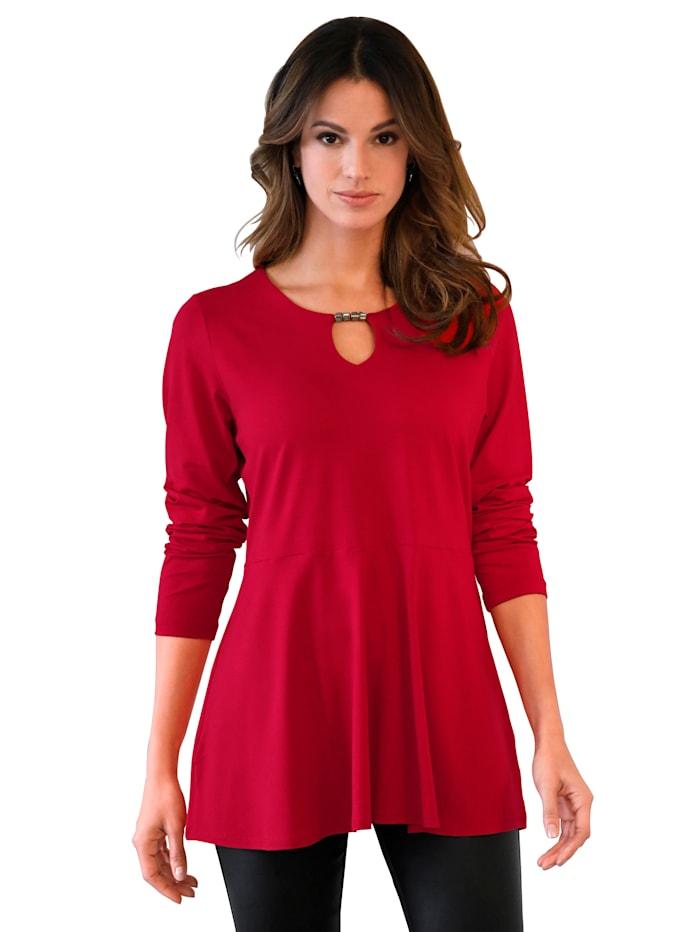 AMY VERMONT Shirt mit Cut-Out am Ausschnitt, Rot