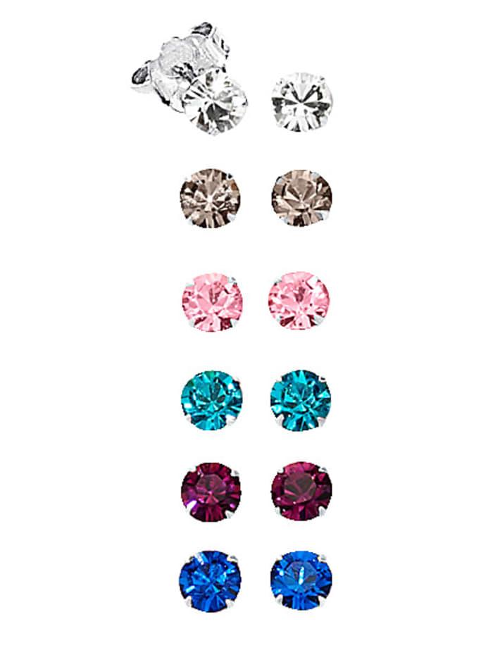 6-delige set oorstekers met kristallen