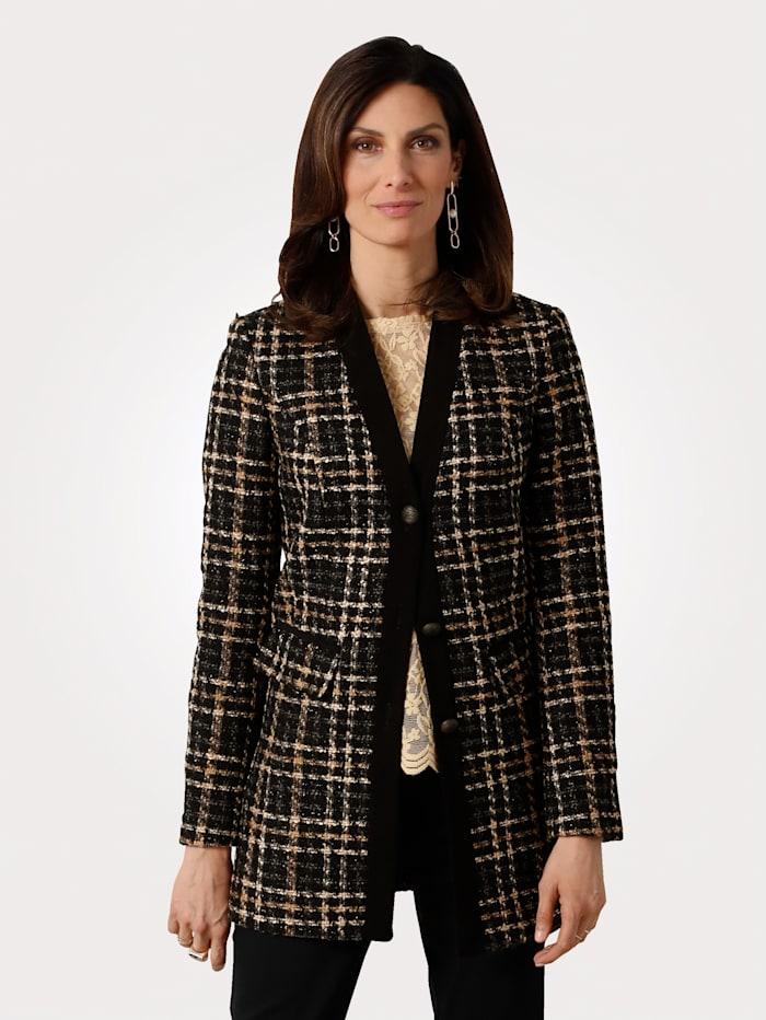 MONA Blazer in a graphic check pattern, Caramel/Black