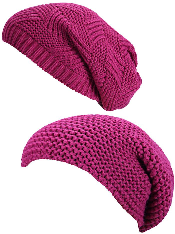 Simone Erto Strickmütze 2 Strickmützen WM250p WM251p 2er-Set Strickmützen im Beanie-Style, pink