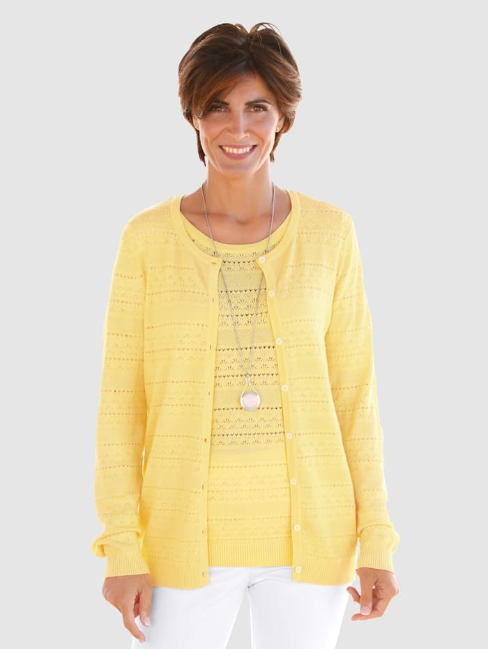 Paola Vest met ajourpatroon, Geel