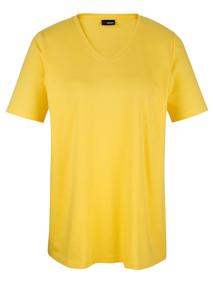MIAMODA Tričko s prodlužujícím výstřihem do V, Žlutá