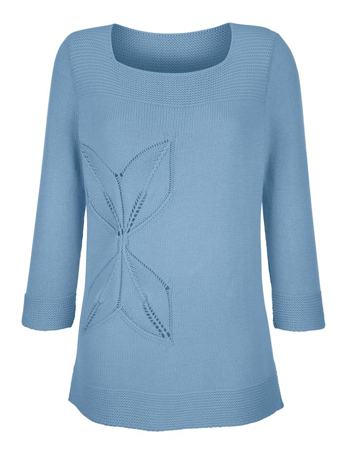 Dress In Pullover Mit Ajourstrick, Hellblau