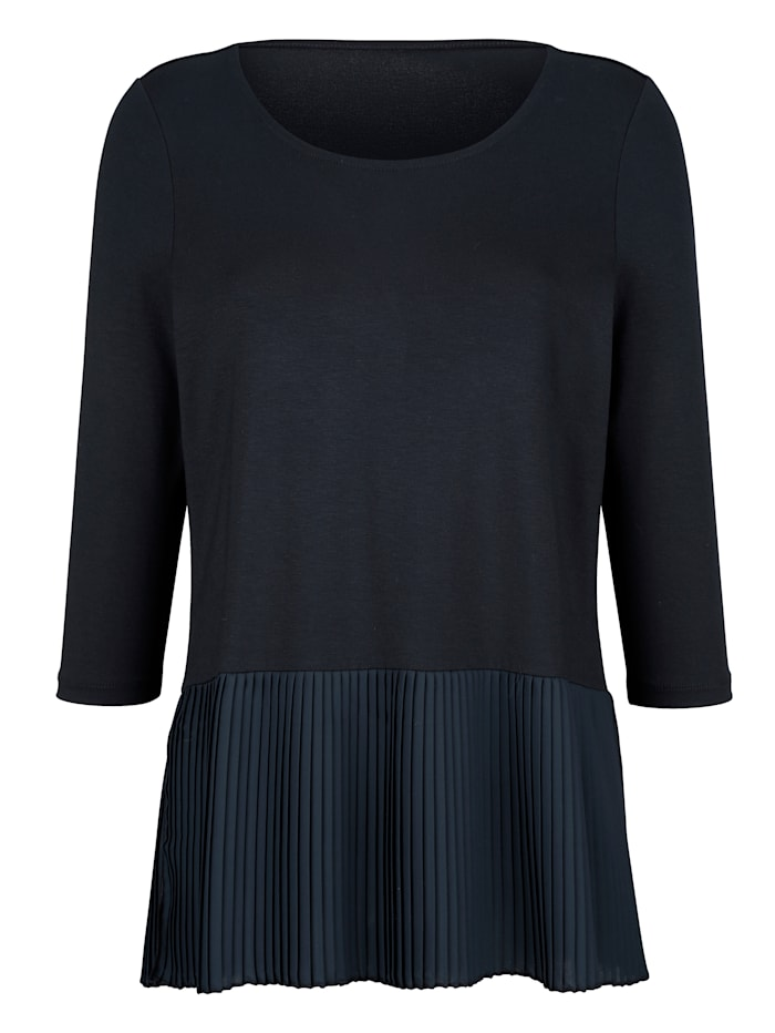 AMY VERMONT Shirt mit Plisseeeinsatz, Royalblau