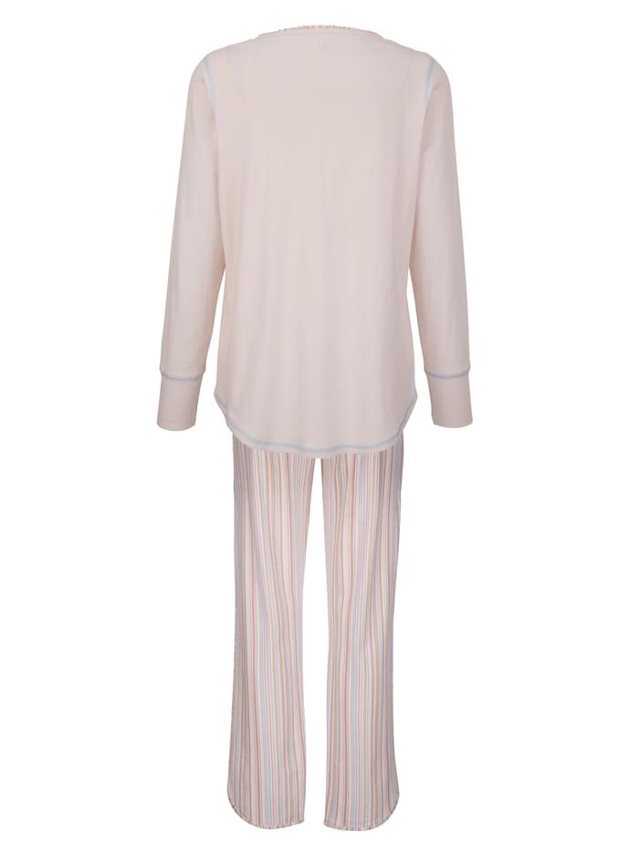 Schlafanzug mit dekorativen Kontrastnähten