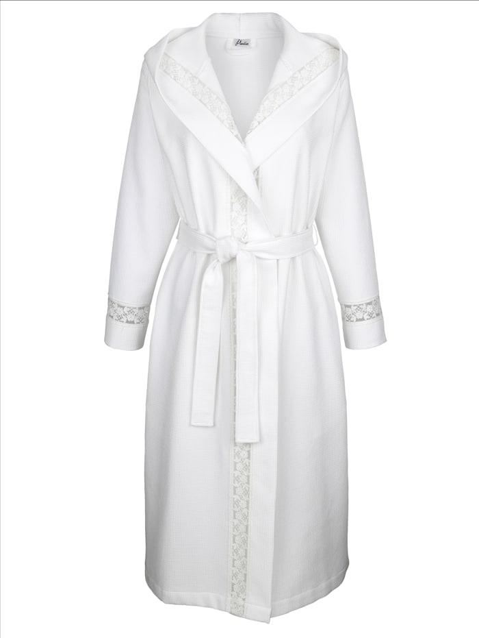 MONA Bademantel mit hübschen Spitzendetails, Weiß