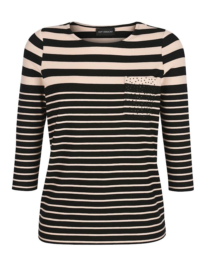 AMY VERMONT Shirt mit Streifen und Ziersteinen, Schwarz/Beige