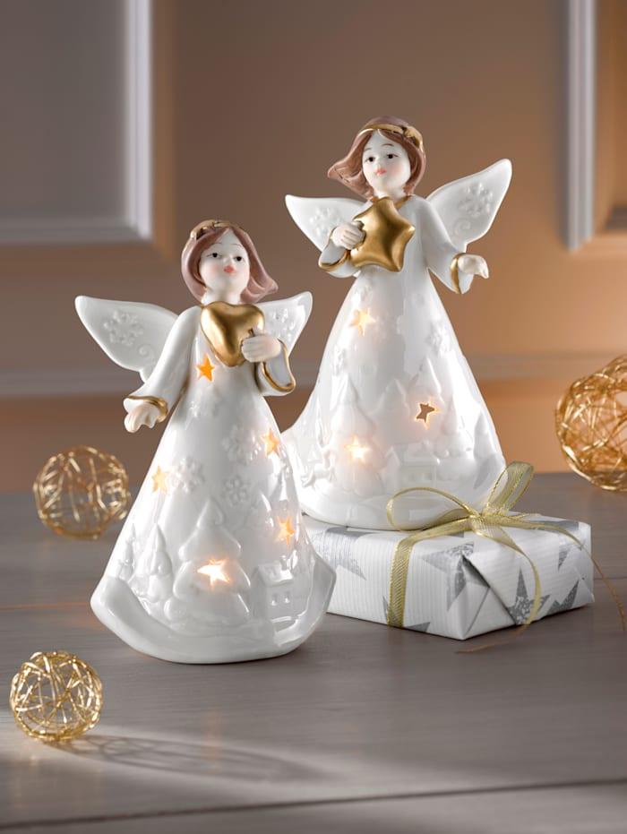 Sett med 2 lanterner -Engel-, Hvit