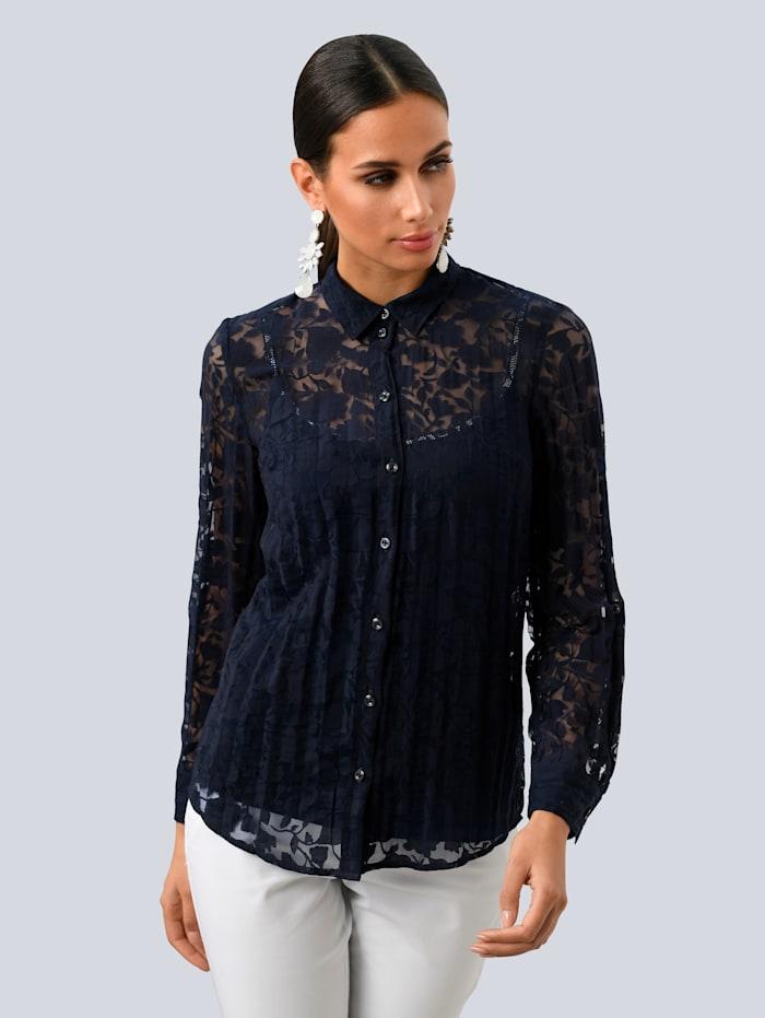 Alba Moda Bluse aus Ausbrennerware, Marineblau