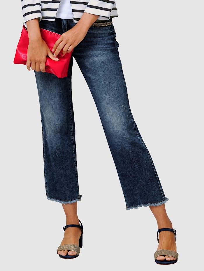 Alba Moda Jeanskulotter med frynser i benkanten, Blå
