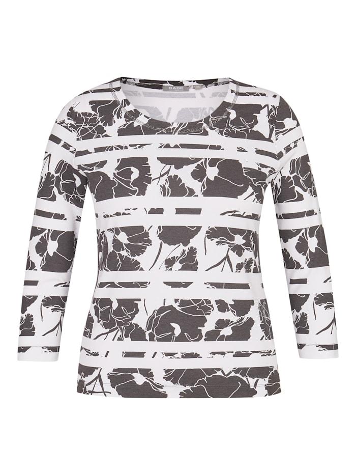 Rabe Shirt mit Rundhals und floralem Muster, GRANIT