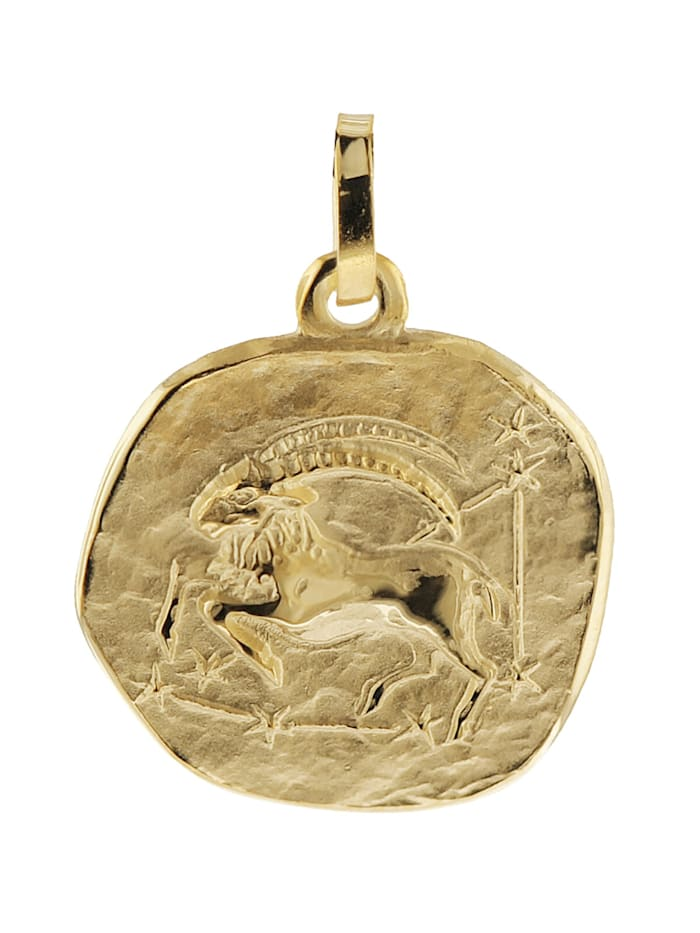 trendor Sternzeichen-Anhänger Steinbock 585 Gold 16 mm, Goldfarben