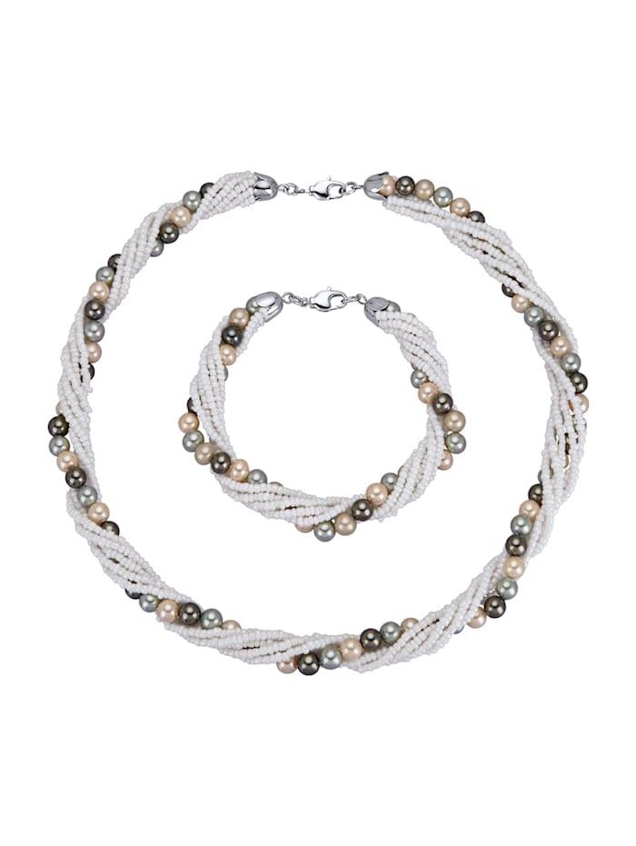 2-d. souprava šperků s perlami s lasturovým jádrem, Bílá