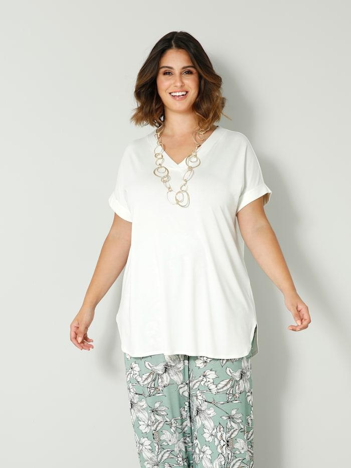Sara Lindholm Shirt mit Blende, Off-white