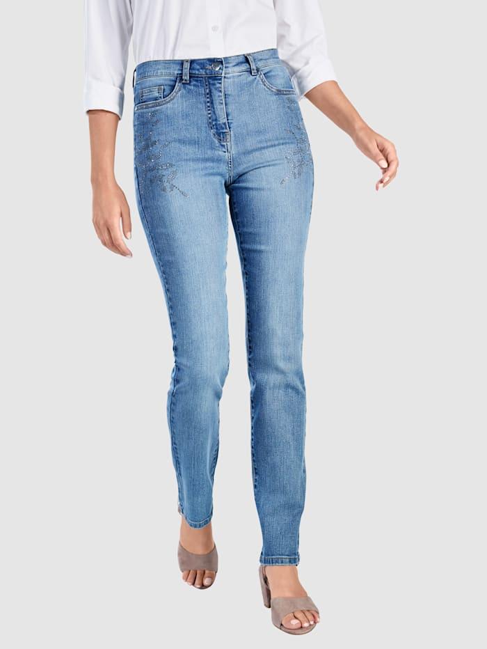 Paola Jeans mit floraler Steinchenzier, Light blue