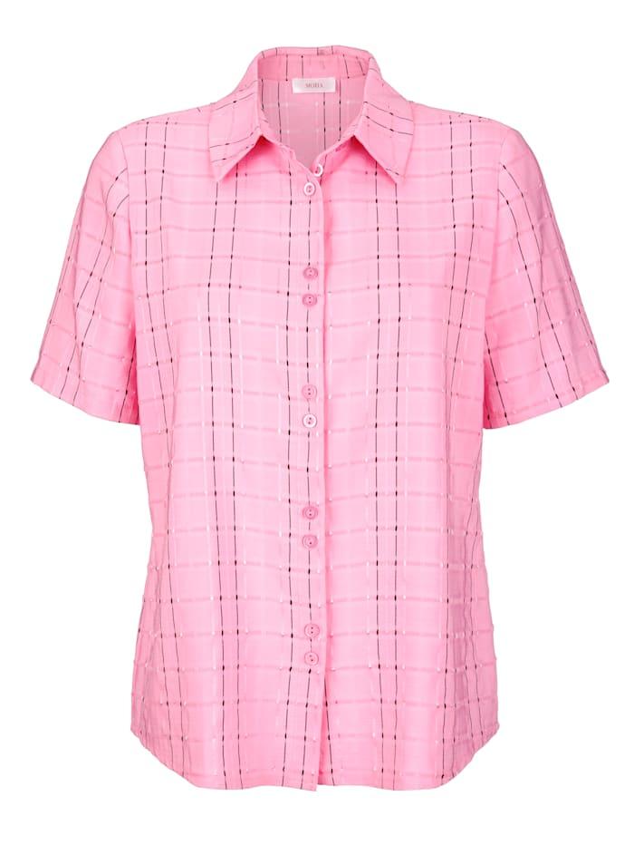 MONA Bluse mit durchgehender Knopfleiste, Rosé/Schwarz/Silberfarben