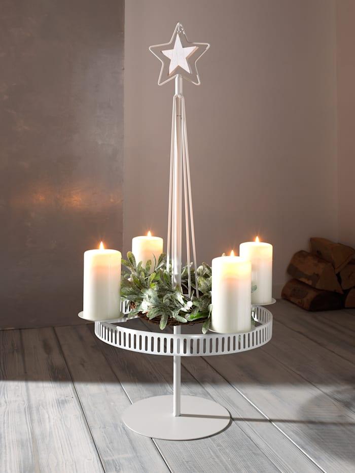 Creativ Deco Ljushållare av metall, för 4 ljus, Svart