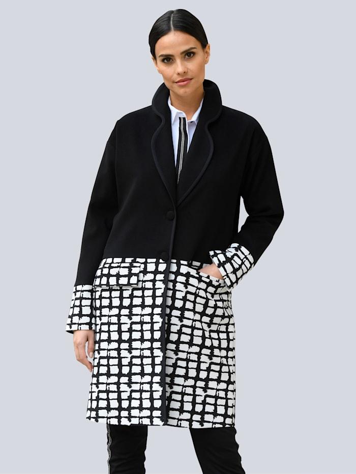 Alba Moda Mantel mit grafischem Dessin im unteren Part, Schwarz/Weiß