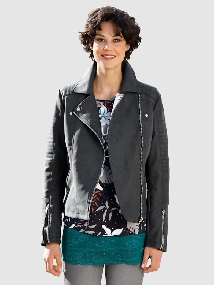 Dress In Jacke im Bikerstil, Anthrazit