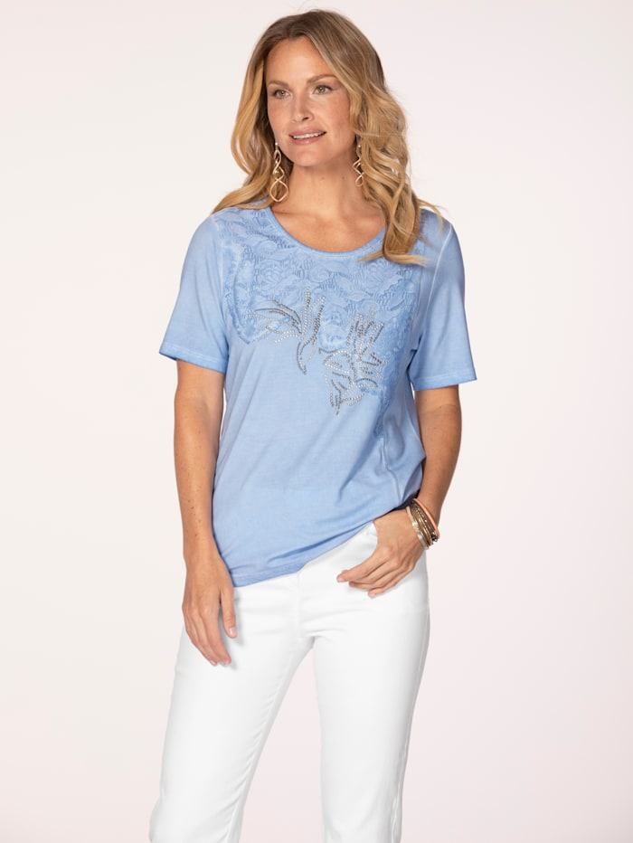 MONA Top made from a soft fabric, Light Blue