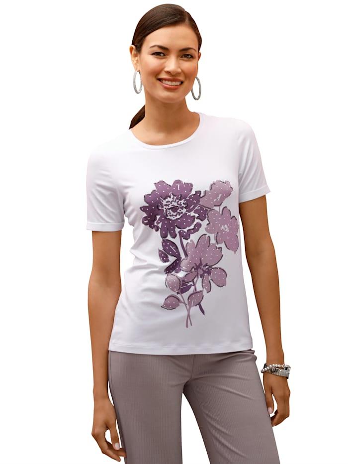 AMY VERMONT Shirt met print voor, Wit/Lila