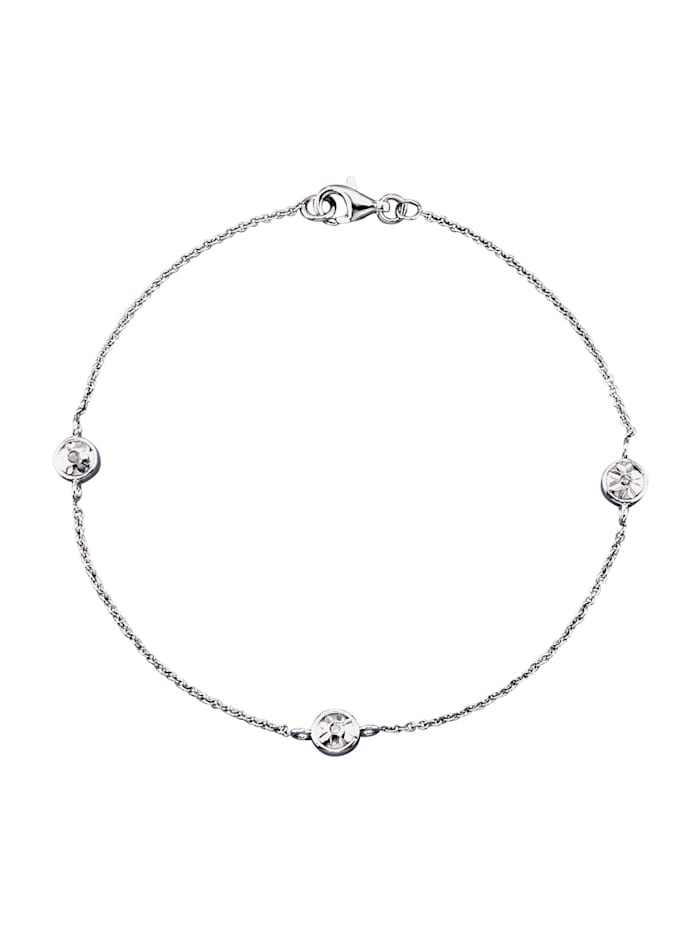 Armband met diamanten, Zilverkleur