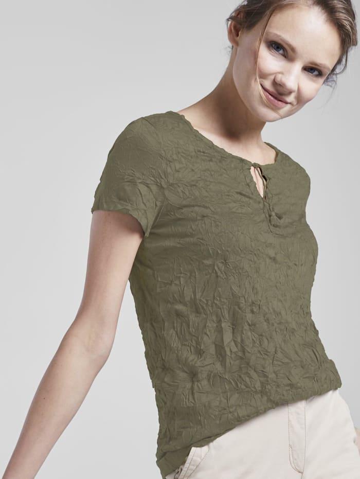 Tom Tailor Gemustertes T-Shirt mit Bindedetail in Crincle-Optik, Woodland Green