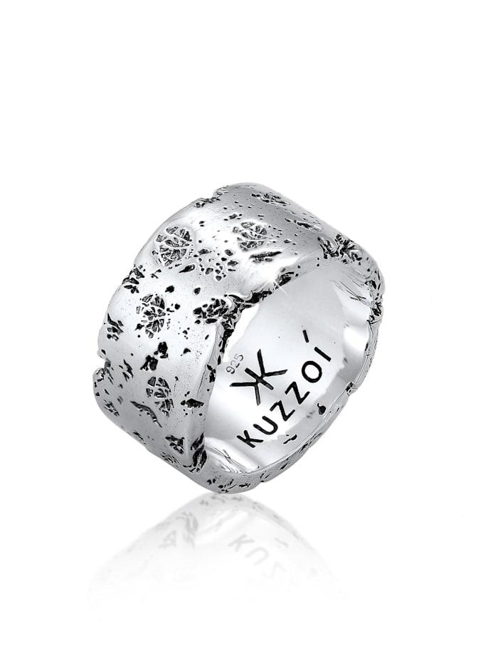 Kuzzoi Ring Herren Bandring Rustikal Robuster Look  925 Silber, Silber